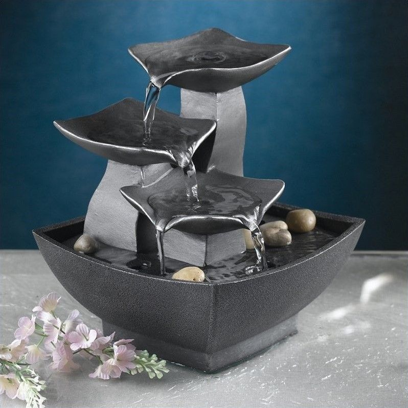 Indoor Water Fountain Led Lights Meditation Waterfall Tabletop Office Zen  Kit