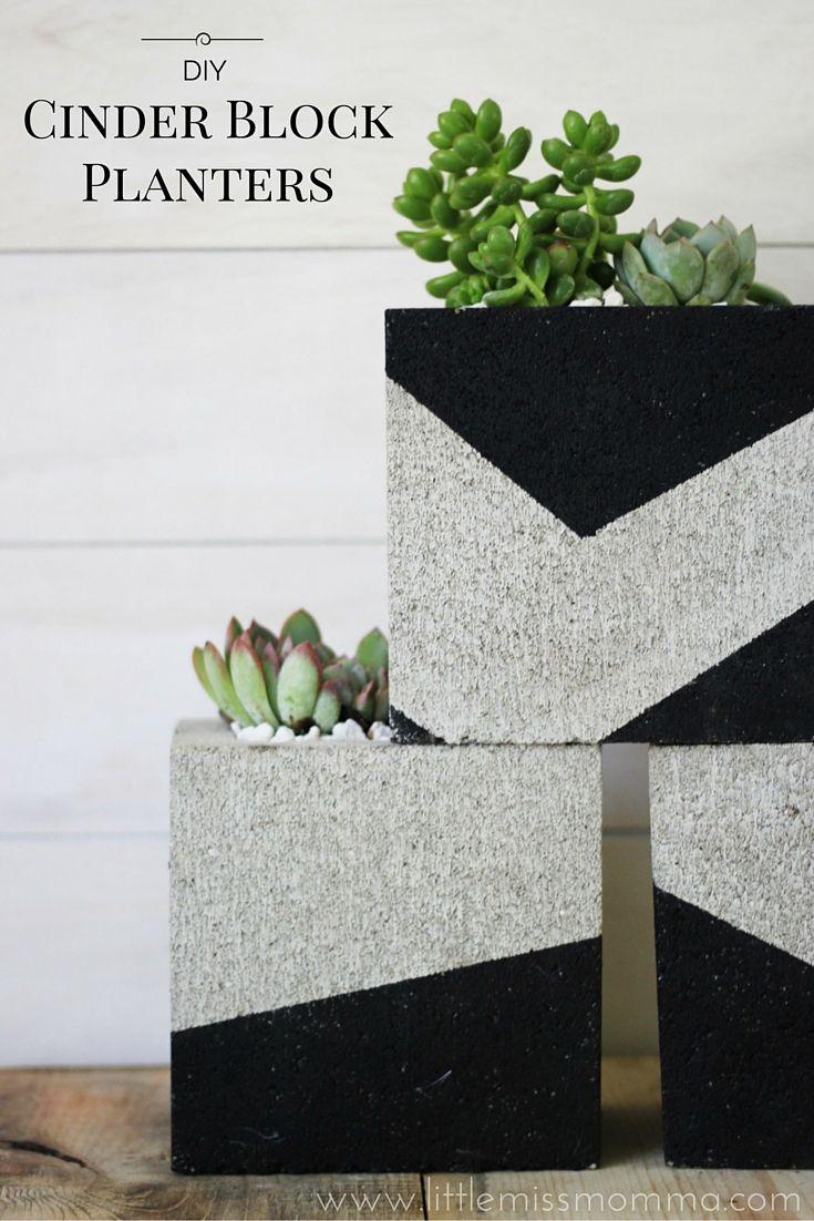 diy painted cinder block planters outdoor diy pinterest planters stencils and cinder blocks. Black Bedroom Furniture Sets. Home Design Ideas