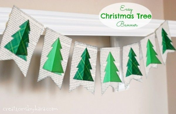Easy Christmas Tree Book Page Banner Christmas Banner Diy Christmas Banners Simple Christmas Tree