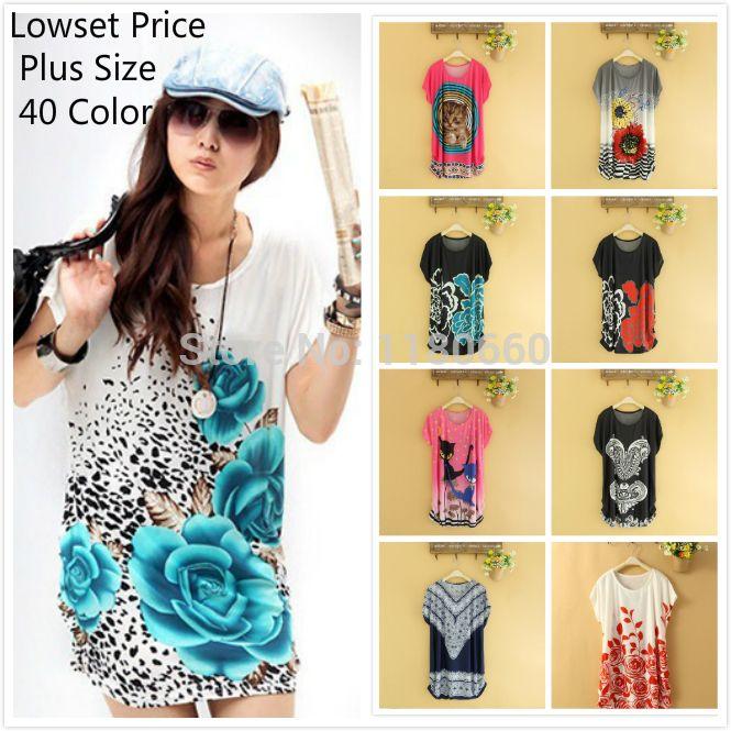 46d0c279f3b Wholesale Hot! Plus Size Print Chiffon T Shirt Women Loose Tops Casual O- neck