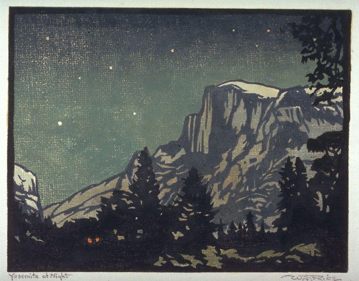 """Yosemite at Night,"" William Seltzer Rice, ca. 1920–1935, color woodcut, 7 1/16 x 9"", FAMSF."