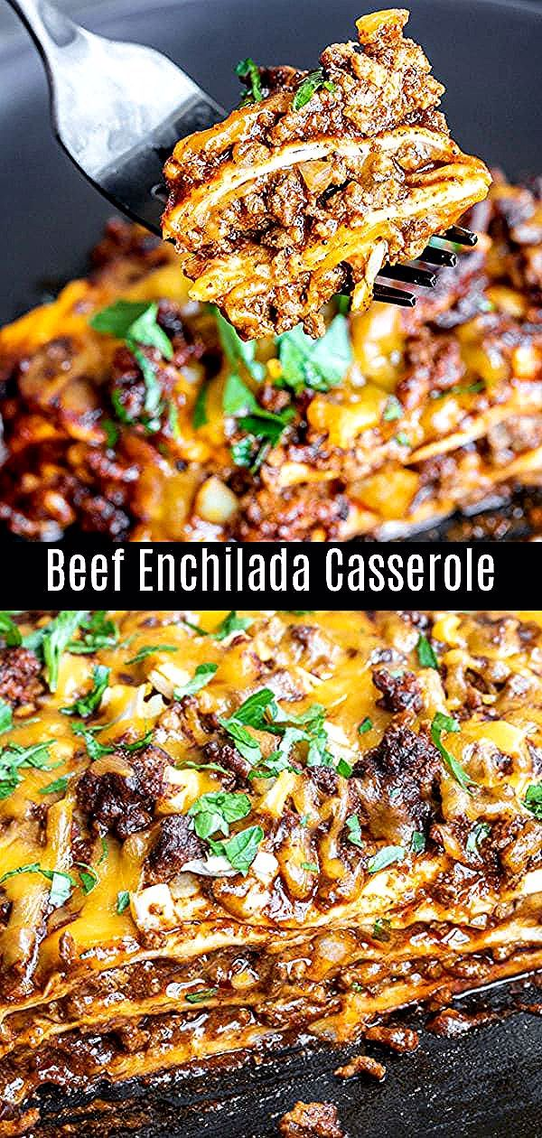 This easy, cheesy, Beef Enchilada Casserole is layered with seasoned ground beef, onions, cheese, r