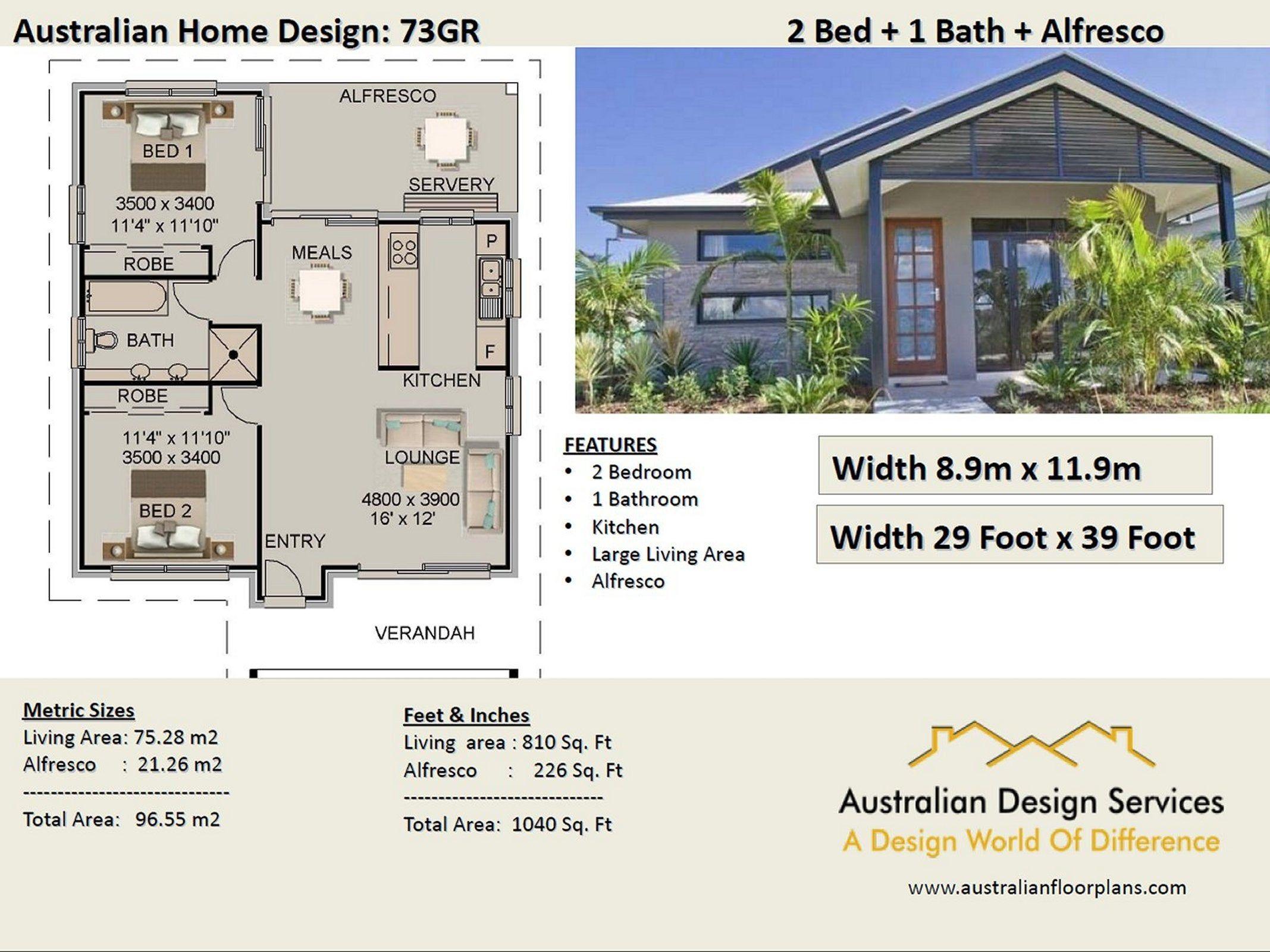Granny Flat Home Design 2 Bedroom Alfresco Concept Floor Plans For Sale 1040 Sq Feet O Small Beach House Plans House Plans Australia Small Beach Houses