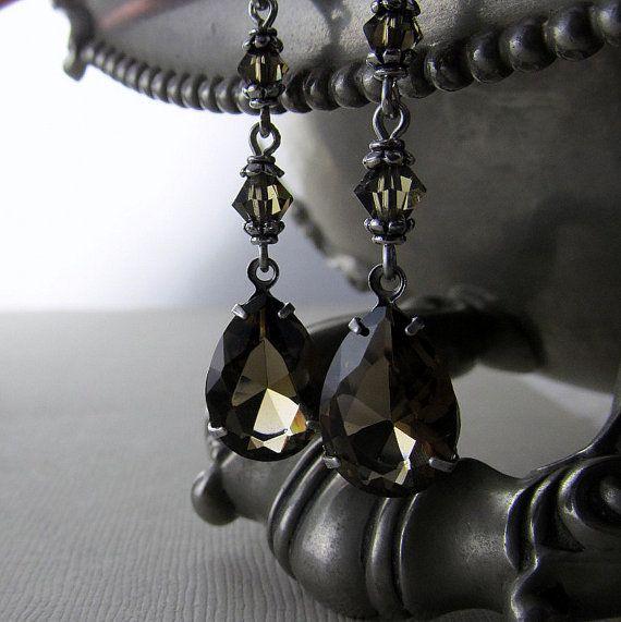 Smokey Quartz Earrings Estate Style Hollywood Glam by DebraDane