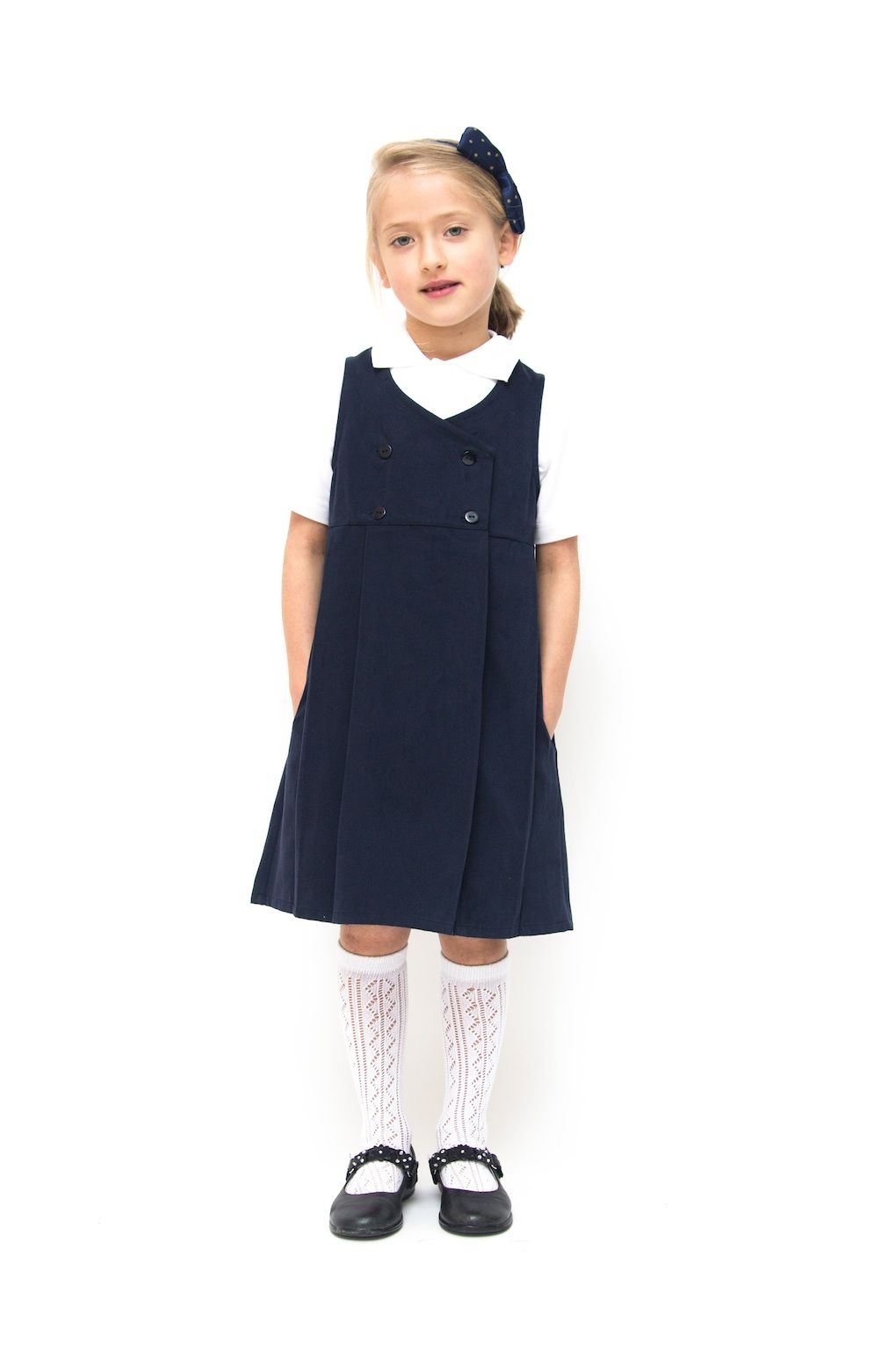 Navy Blue Double Breasted Classic Pinafore Our Brand New Beautifully Design Classic Pin School Uniform Outfits School Uniform Kids School Uniform Dress