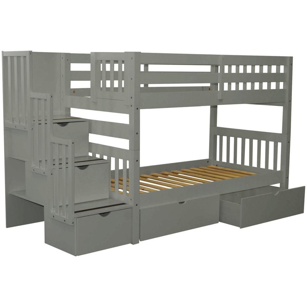 214069f664f0fa Bedz King Stairway Bunk Bed Twin over Twin with 3 Drawers in the Steps and 2  Under Bed Drawers, Grey | Overstock.com Shopping - The Best Deals on Kids'  Beds