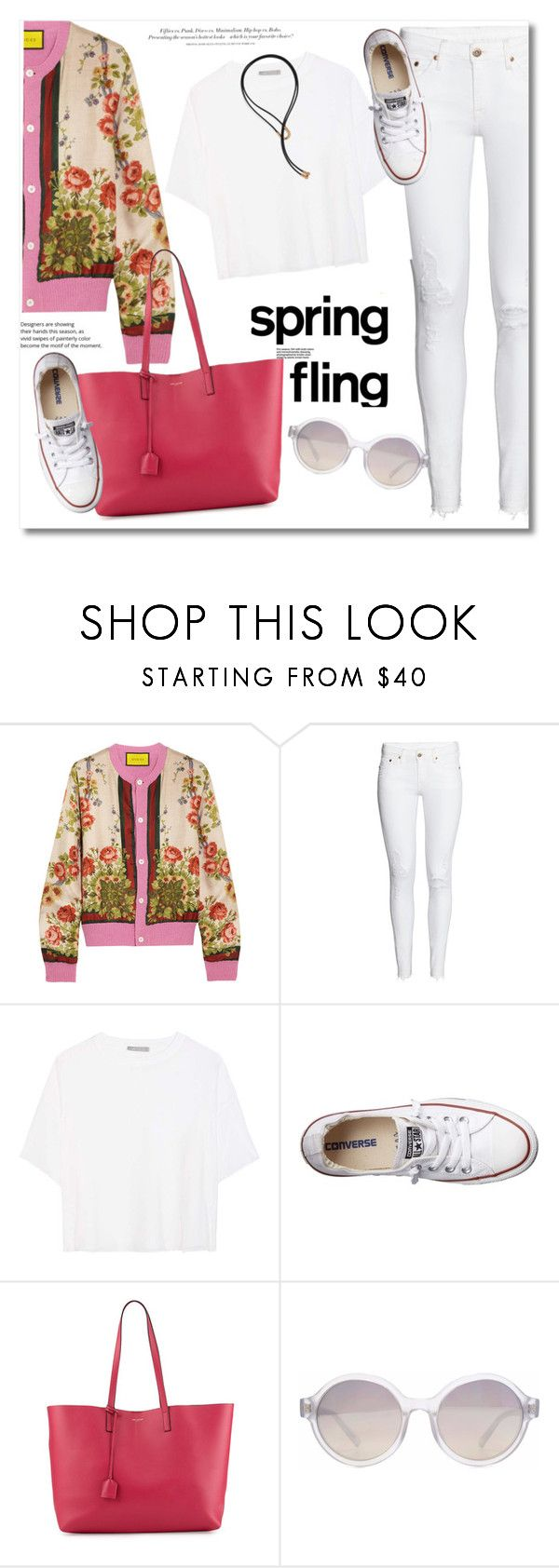 """""""Spring floral"""" by vkmd ❤ liked on Polyvore featuring Gucci, Vince, H&M, Converse, Yves Saint Laurent, HOOK LDN, Pamela Love and springflorals"""