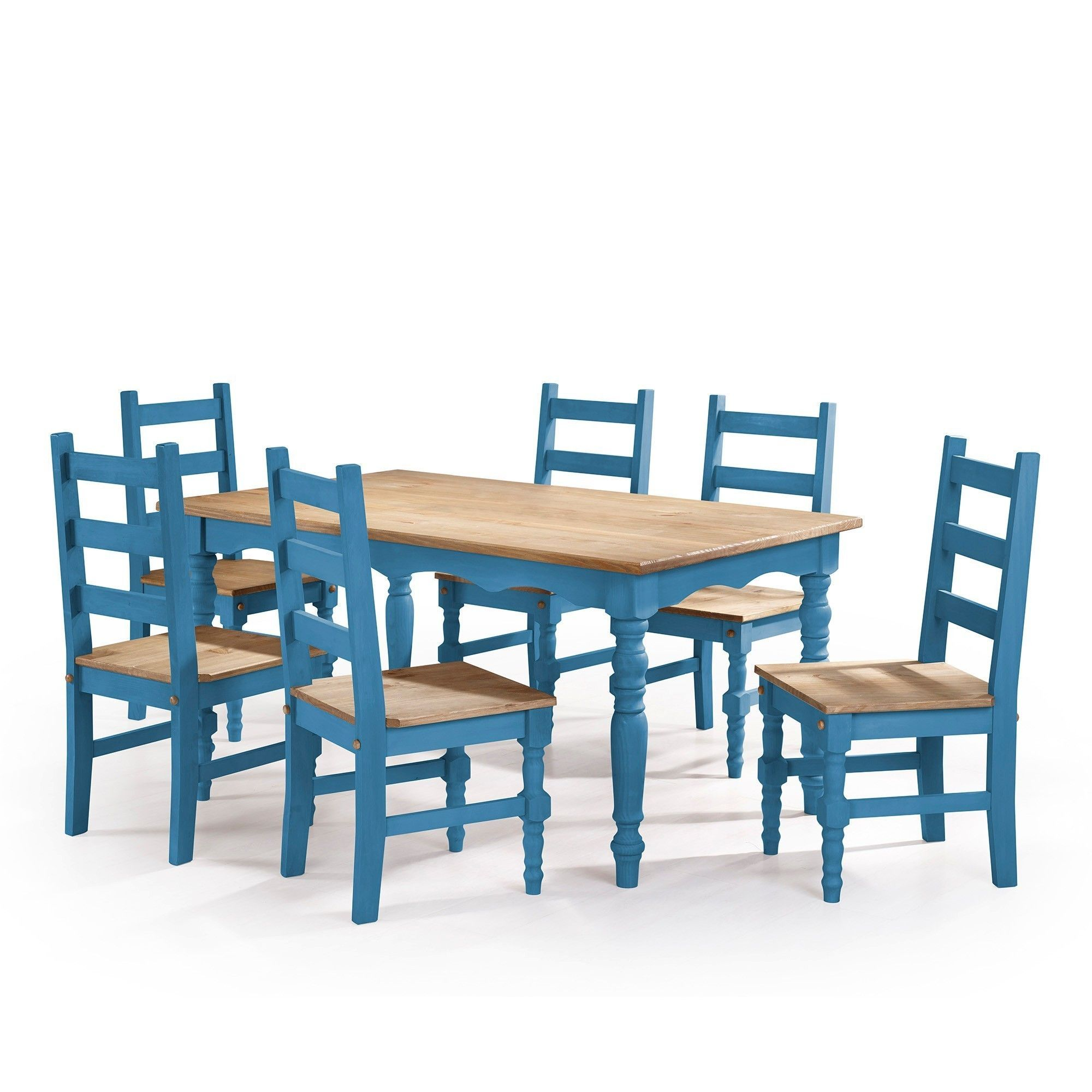 Manhattan Comfort Jay 7-Piece Solid Wood Dining Set with 6 Chairs ...