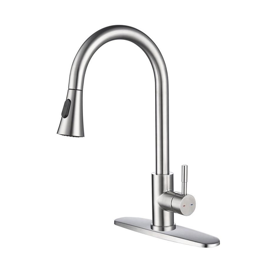 Ovios Spot Free Single Handle High Arc Brushed Nickel Pull Out Kitchen Faucet Single Level Stain Pull Out Kitchen Faucet Kitchen Faucet Stainless Steel Faucets