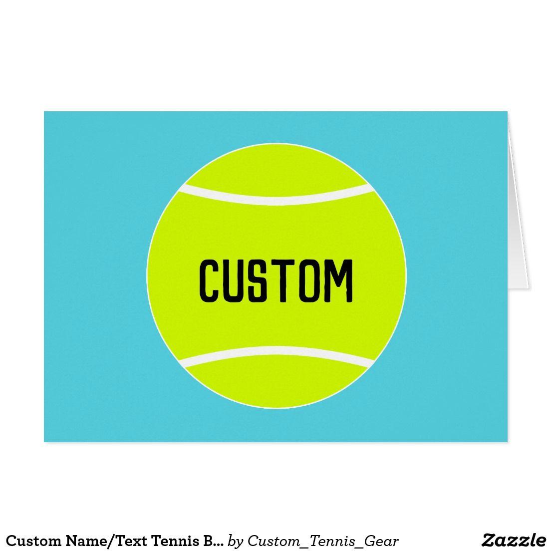 Custom Nametext Tennis Ball Player Greeting Card Custom Tennis