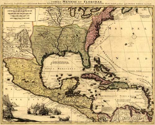 Shows The Extent Of New Spain And Florida, New France, The -1524
