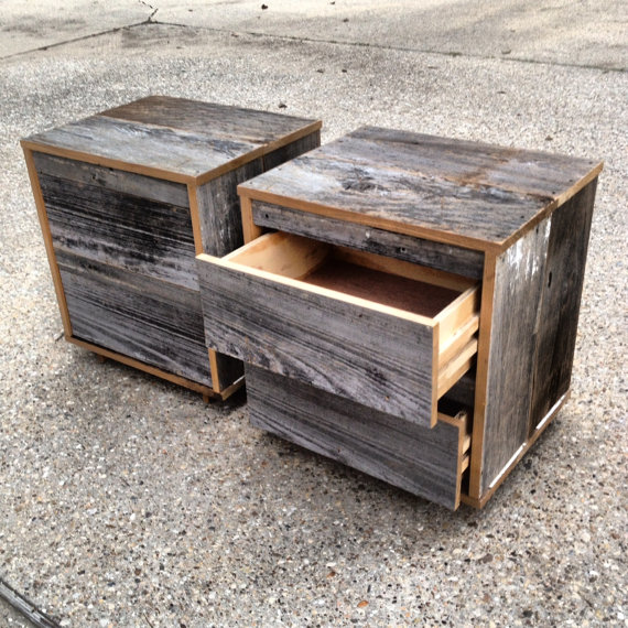 Reclaimed Wood Bedside Table Grey Etsy Reclaimed Wood Bedside