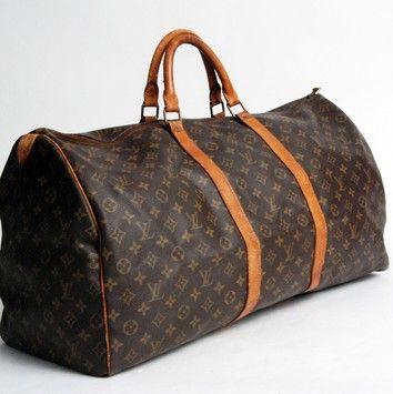 93a2f5ca9259 Louis Vuitton Keepall 60 Brown Monogram Canvas Weekend Travel Bag 64 ...