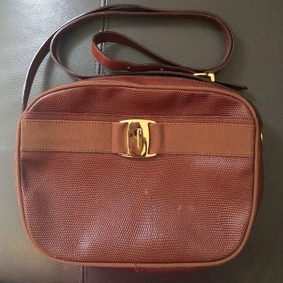 5f082b1ea8af Salvatore Ferragamo Shoulder Bag Authentic Leather Salvatore Ferragamo Bag  Vintage Brown Embossed Leather  BA214183
