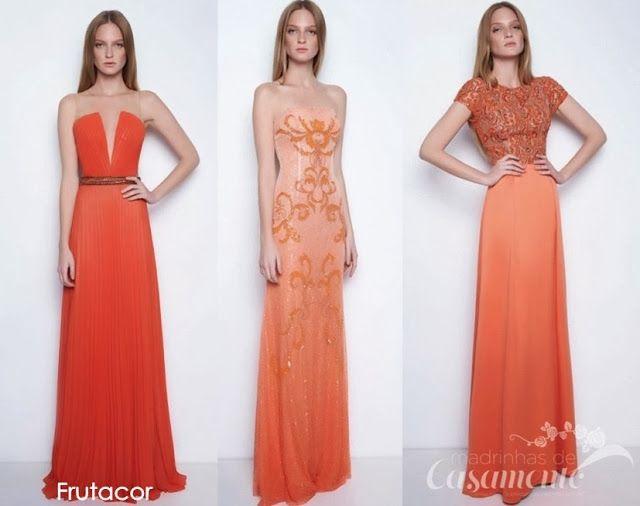 Vestido laranja longo de festa