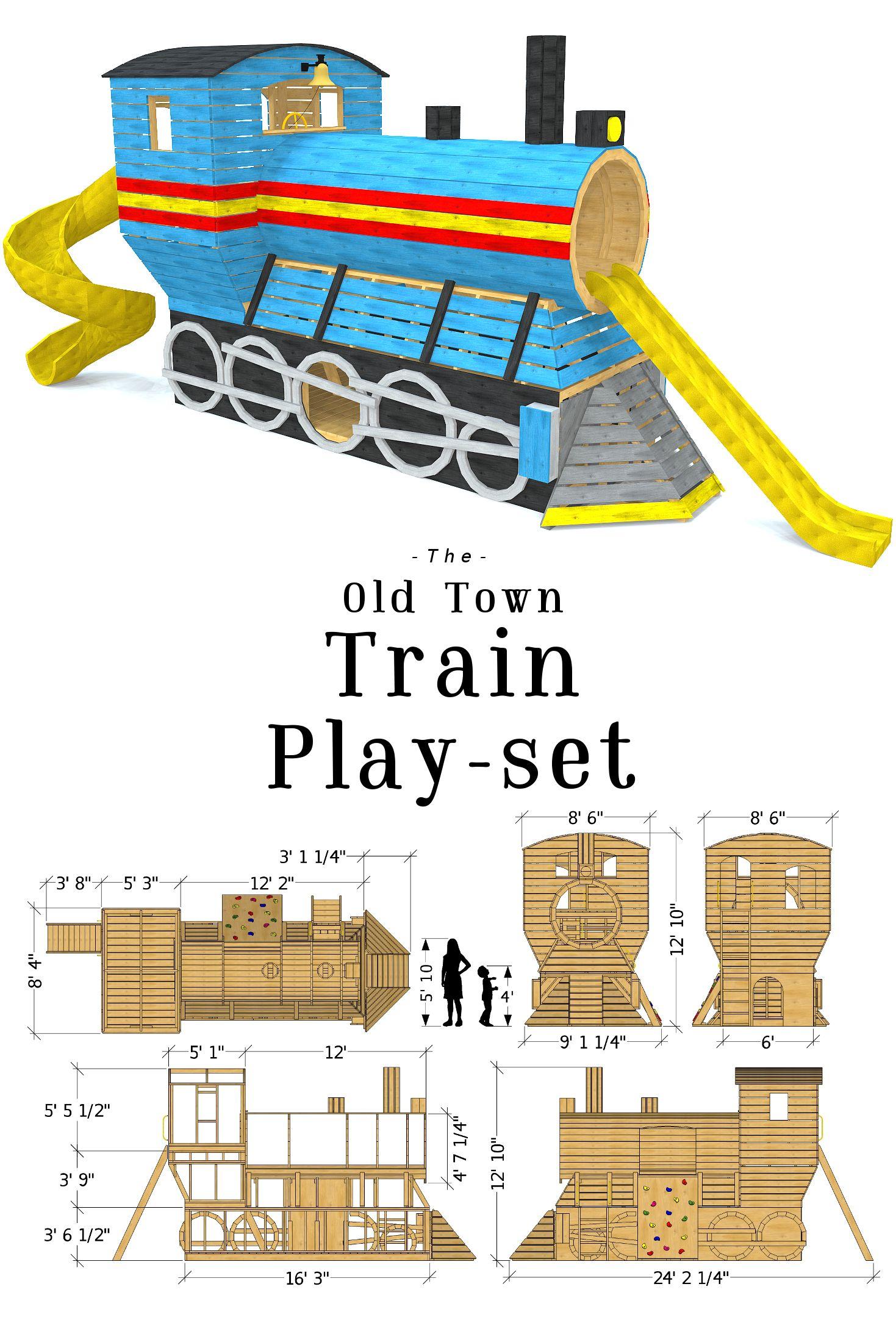 Old Town Train Playset Plan Playset Plans Backyard Playset Play Houses Diy backyard train plans