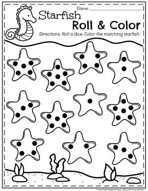 Roll and Cover Preschool Counting Worksheets for an Ocean
