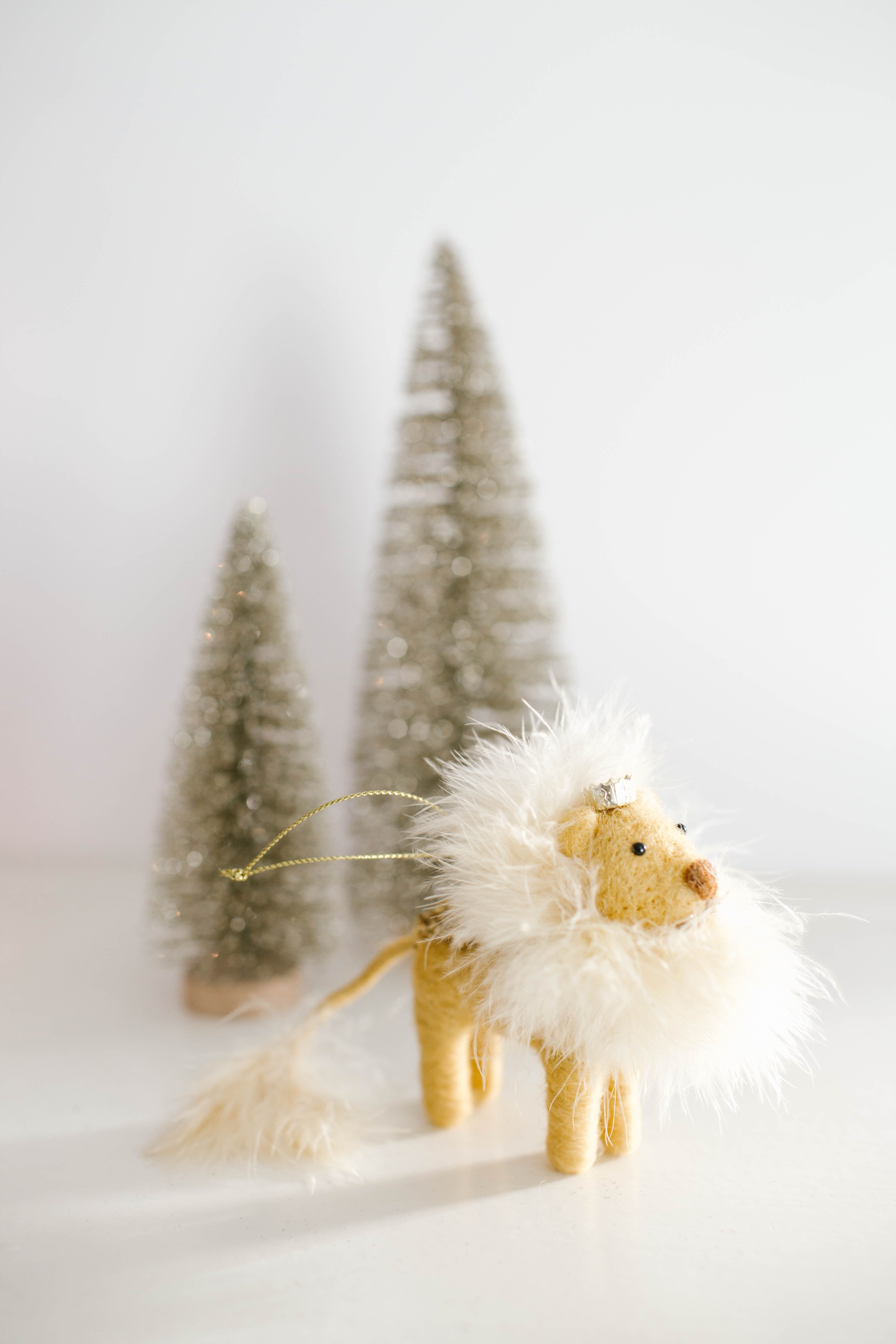 lc lauren conrad faux feather lion christmas ornament available at kohls and on kohlscom