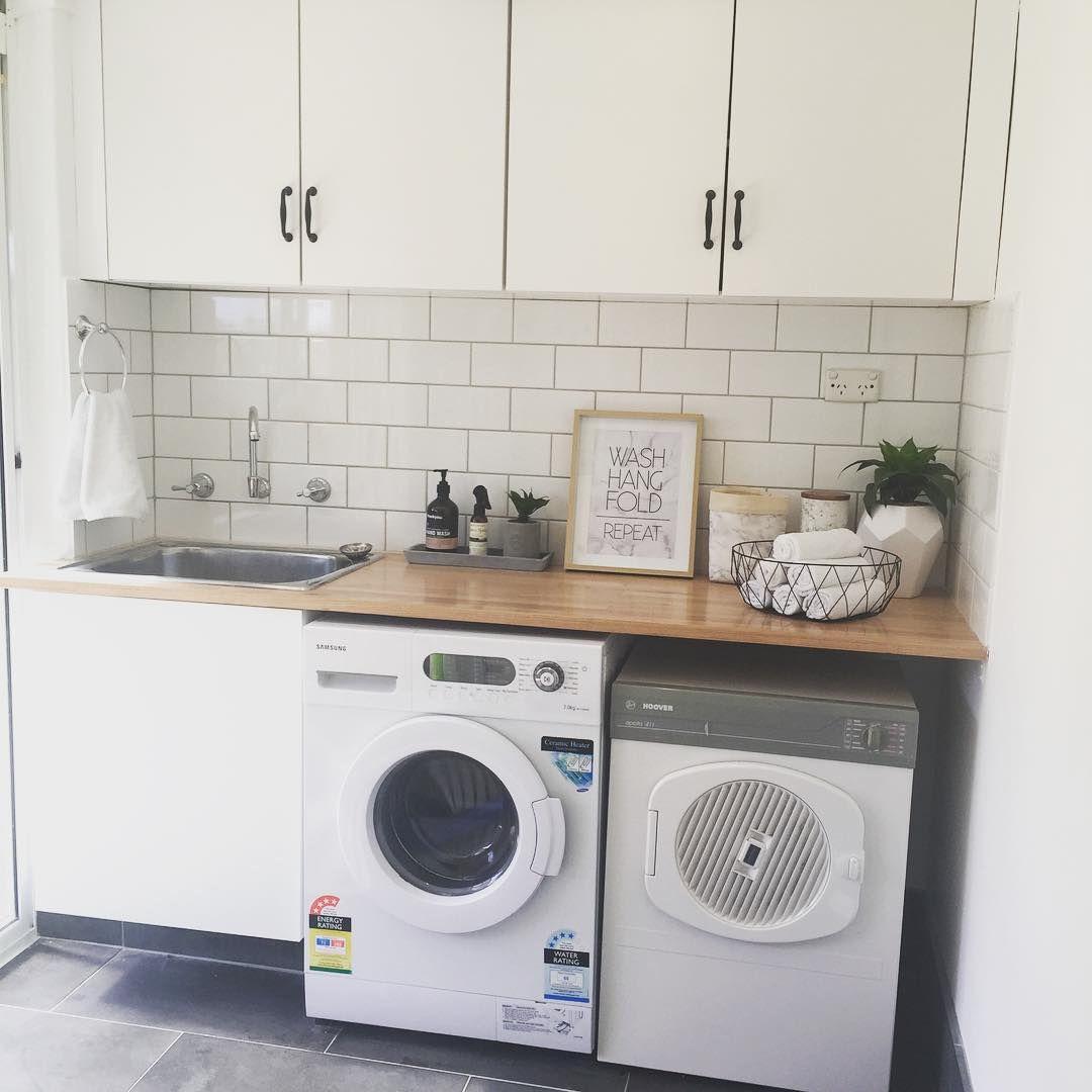 White walls, white subway tiles, wooden benchtop | Laundry ...
