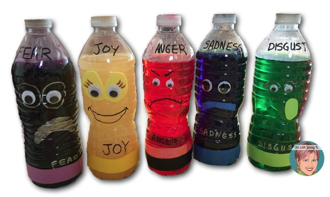Emotion sensory bottles inspired from characters in the movie Inside Out #sensorybottles