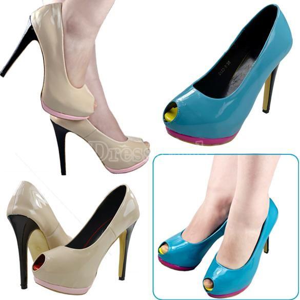 Fashion Slim Women's Fish-Head High Heels Peep Toe Pumps Shoes PU Leather