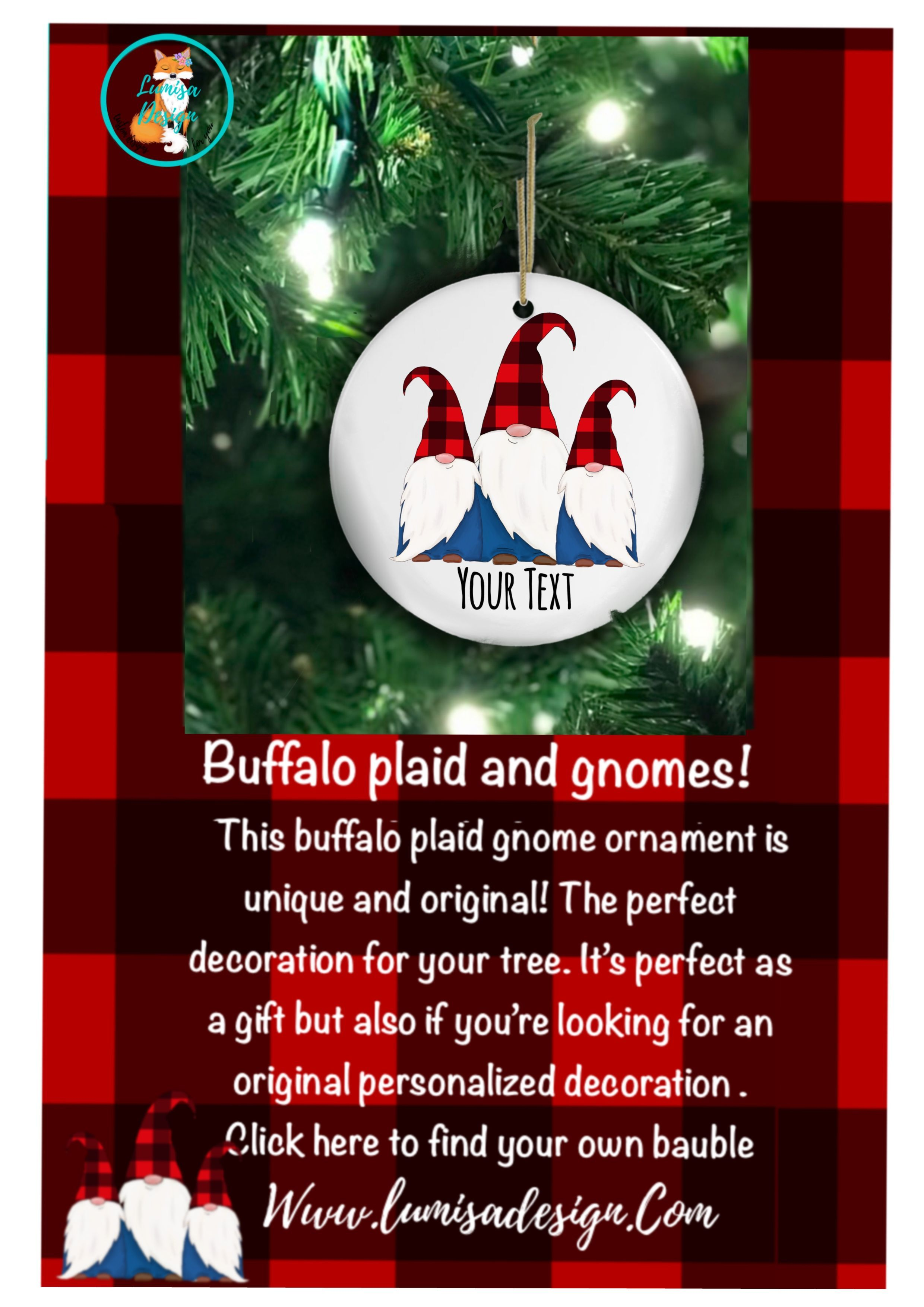 Decorate Your Tree This Year With This Adorable Personalized Buffalo Plaid Gnome Ornament You Can P Personalized Christmas Ornaments Gnome Ornaments Ornaments