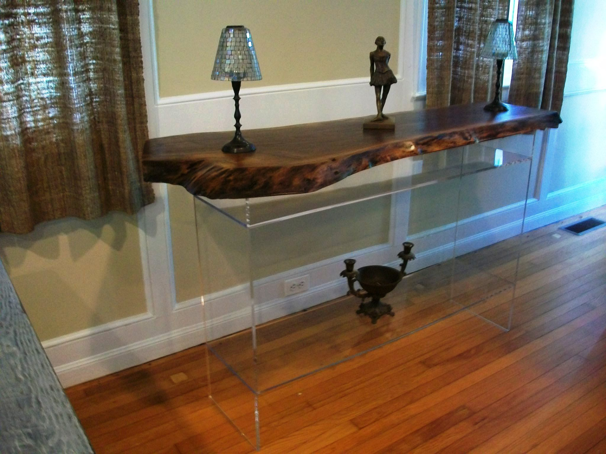 Live edge walnut console with lucite base
