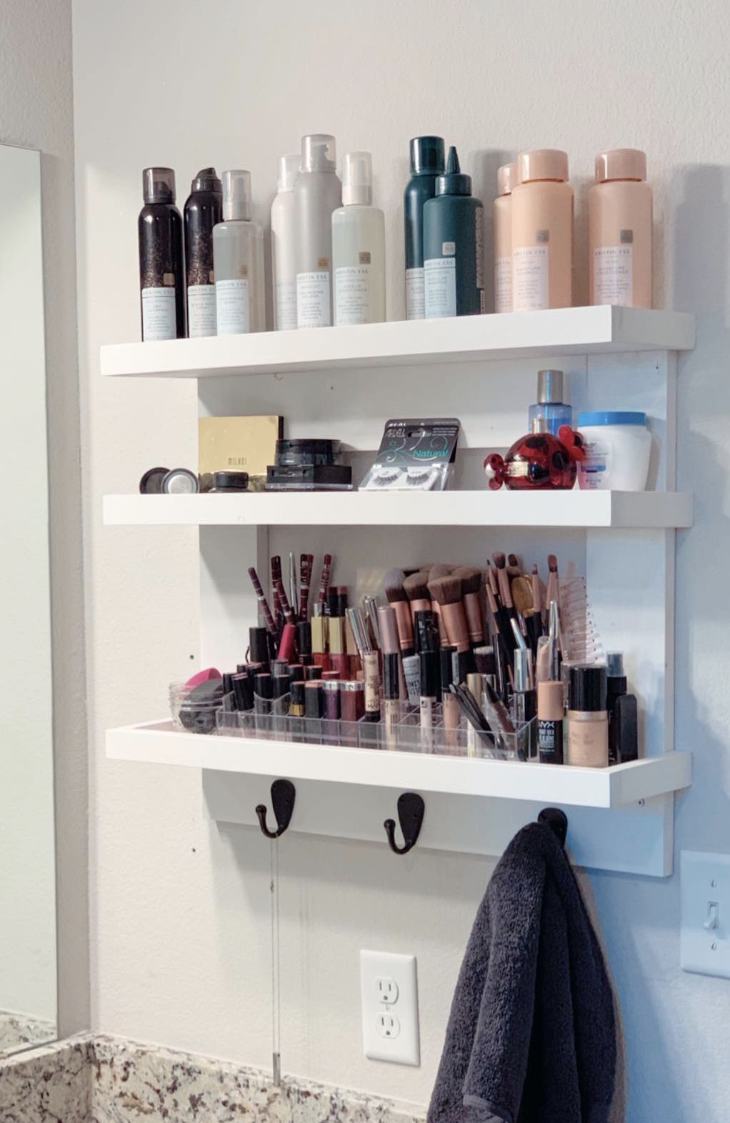 Diy Makeup Hair Care Wall Shelf And Shelving With Hooks Makes Great Bathroom Storage When You Do Bathroom Wall Storage Diy Bathroom Decor Diy Bathroom Storage