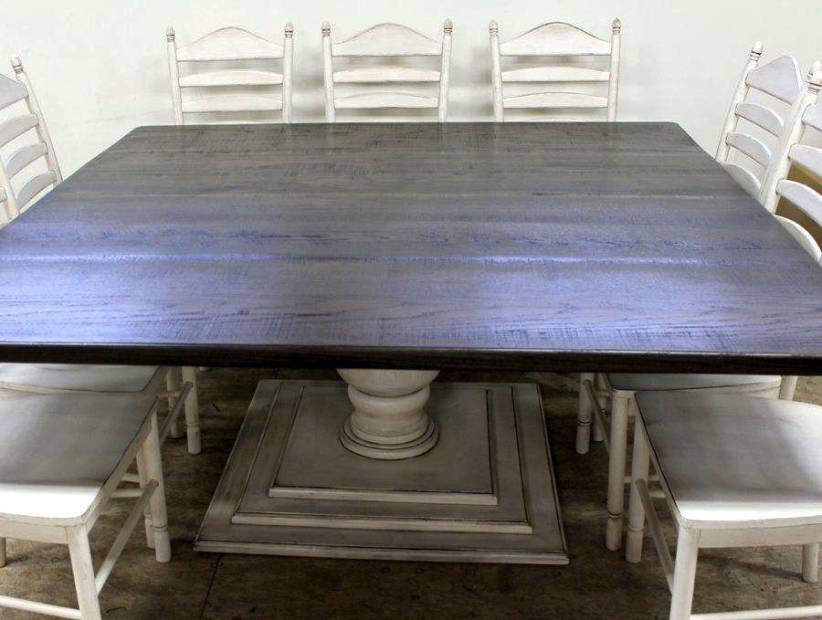 Custom Made Square Farmhouse Table With Tuscany Pedestal Square