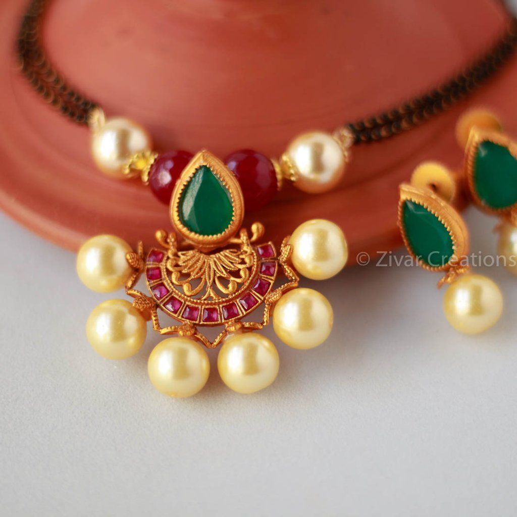 Red Chandelier India: Pearl Red Green Pendant Handcrafted Mangalsutra, Indian