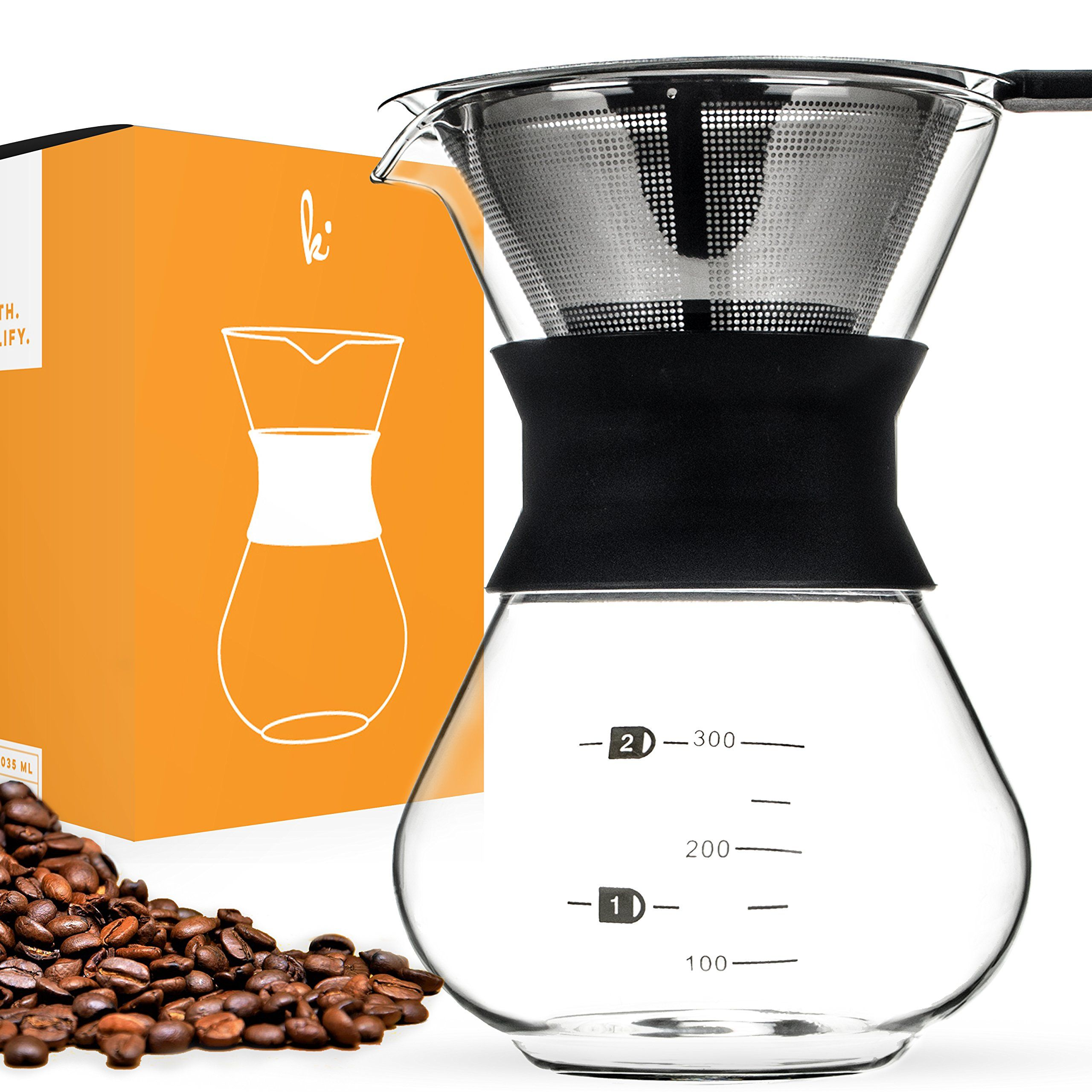 Pour Over Manual Hand Drip Coffee Maker Glass Carafe