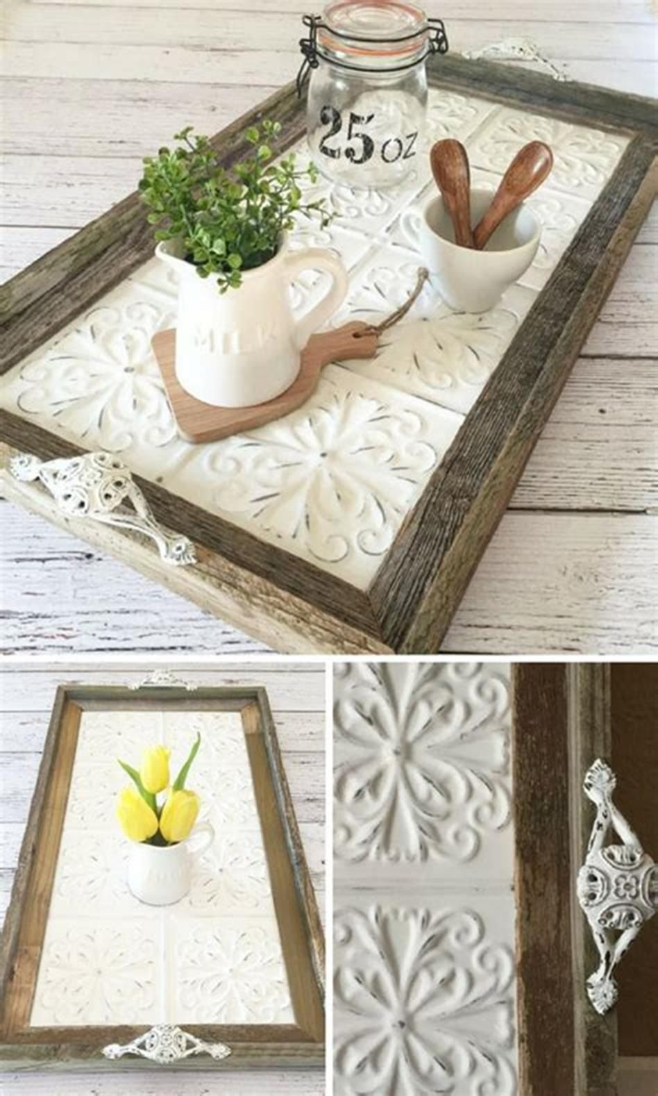 40 Beautiful Farmhouse Style Tray Decor Ideas Diy Crafts Sewing Crafts Rustic Serving Trays