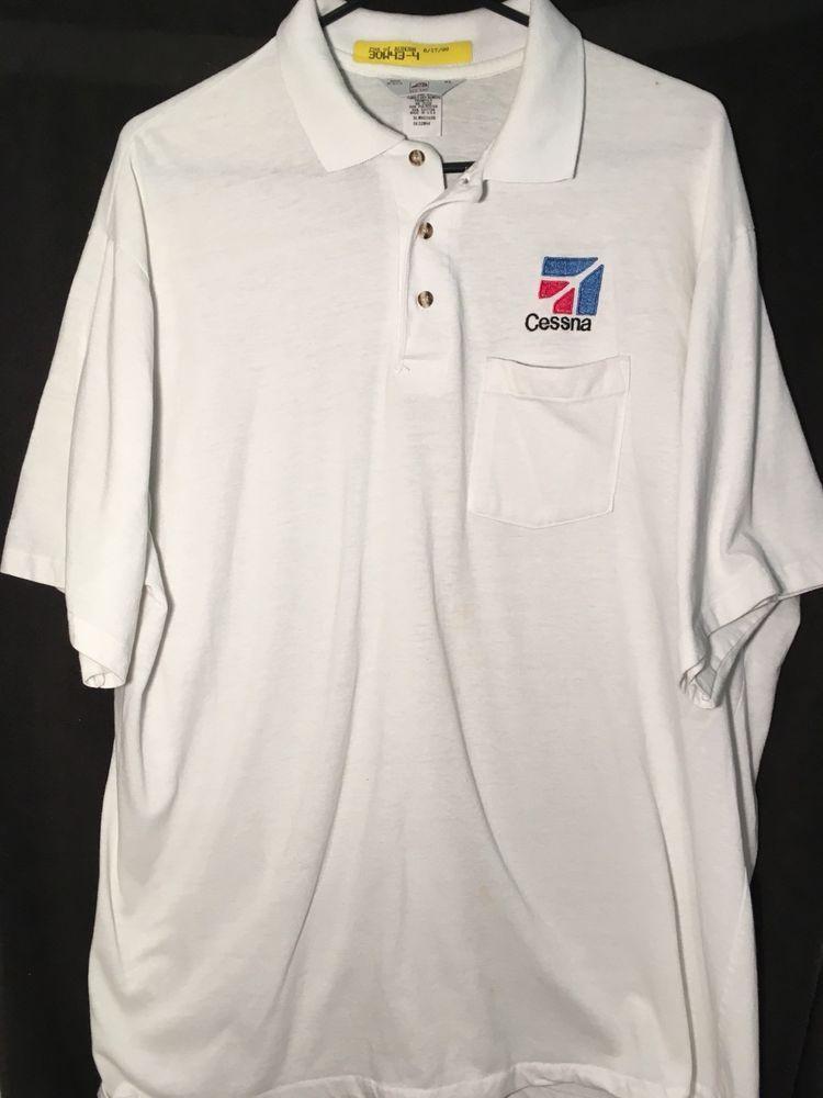 Vtg Cessna Men S White Airplane Golf Polo Shirt Embroidered Logo