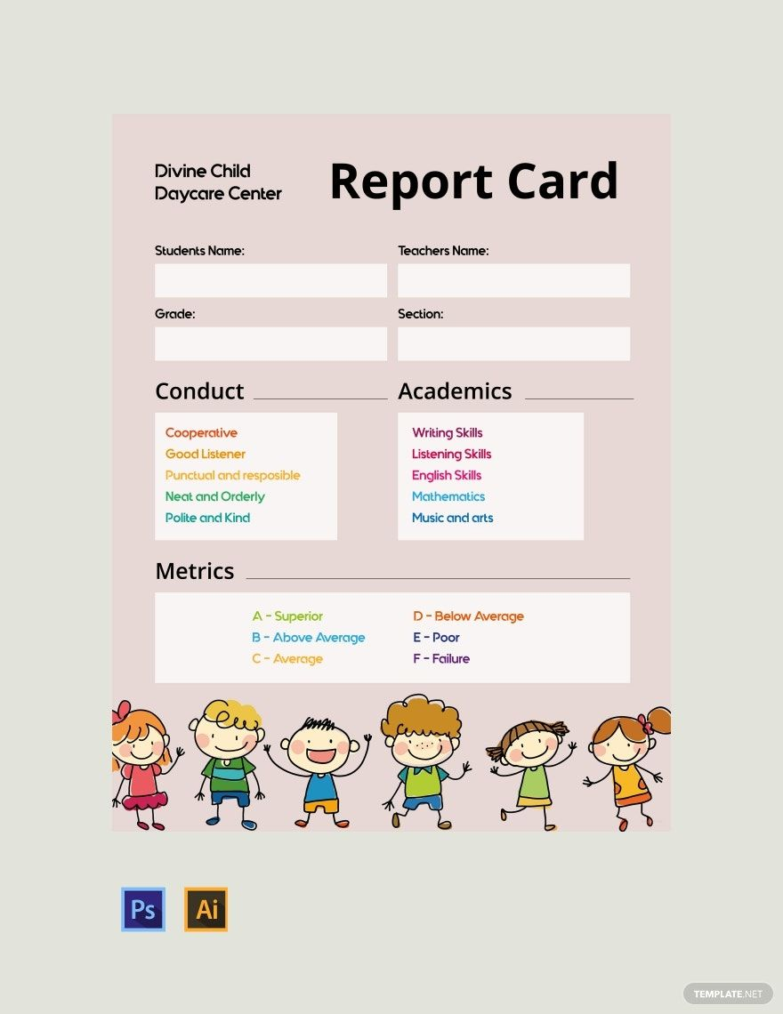 Free Daycare Report Card Template Psd Illustrator Report Card Template Report Card Writing Skills