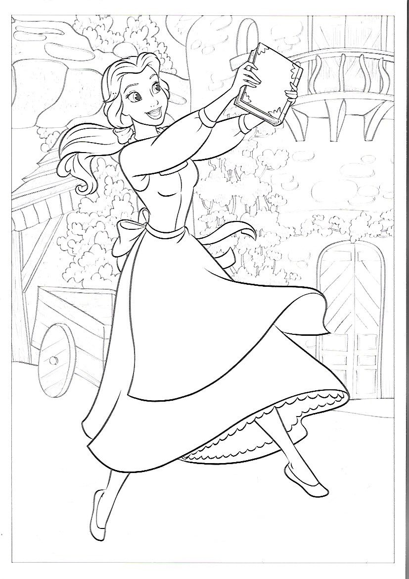 Belle Dancing With A Book Disney Coloring Pages Disney Colors Coloring Books