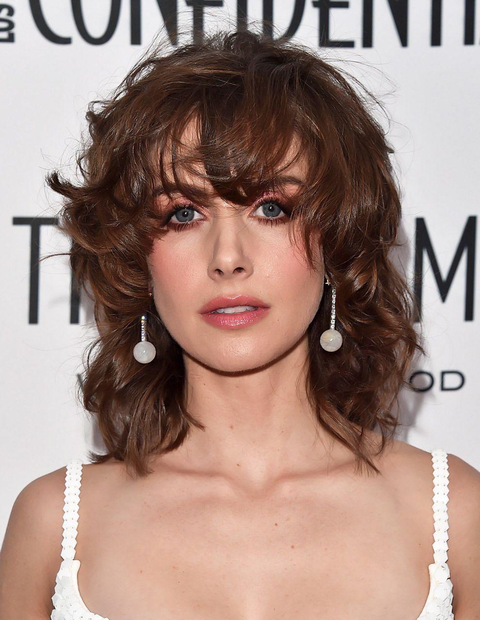 shag frisur gestuft modern braune haare schulterlang ovale