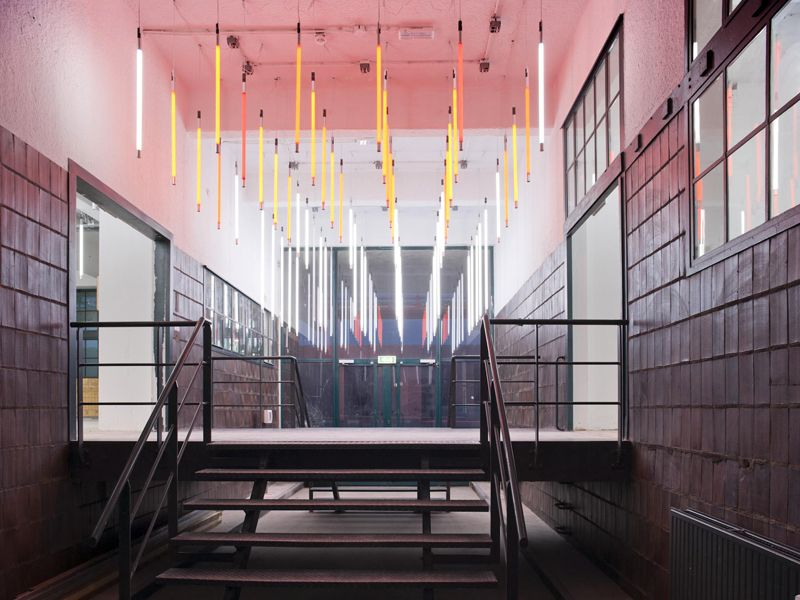 More vertical hanging fluorescent tubes … | INTERIOR in 2019…
