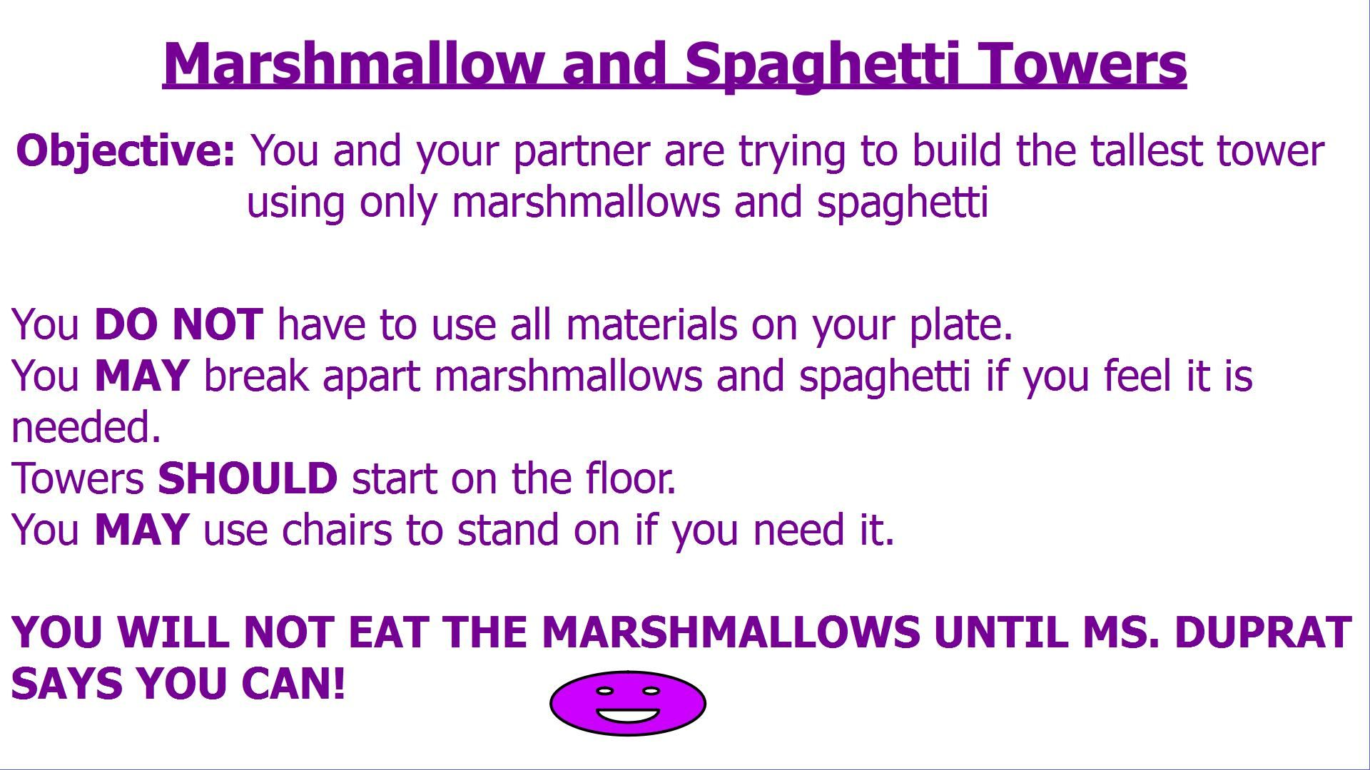 Marshmallow And Spaghetti Tower Worksheet