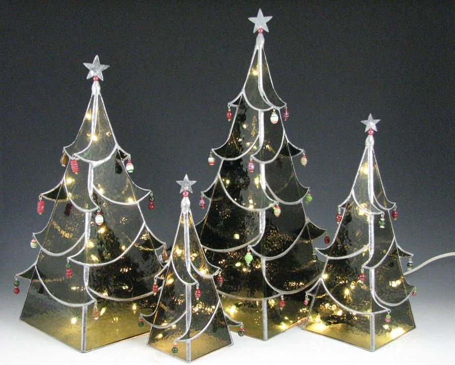 four sided stained glass christmas tree with lights small