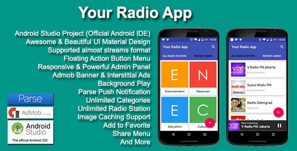 Your Radio App in 2019 | Code Script | Mobile app templates, Android