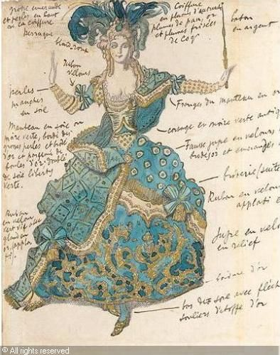 annotated costume illustration: 'Sleeping Beauty' by Leon Bakst