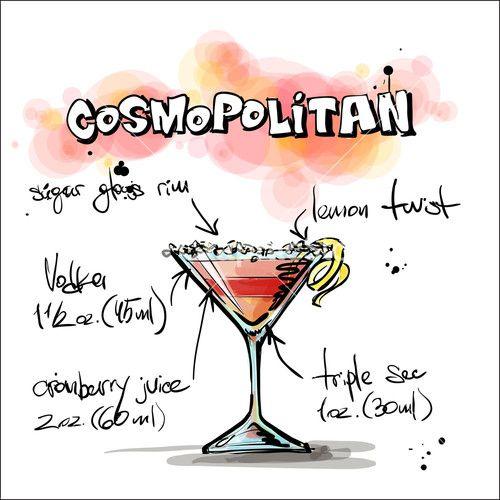 Hand Drawn Illustration Of Cocktail. Cosmopolitan. Vector