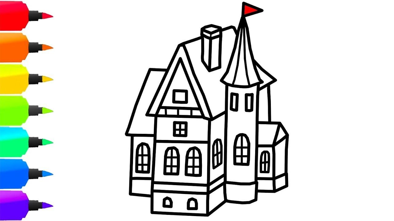 How To Draw A Big House For Kids Toys Coloring Page For Children