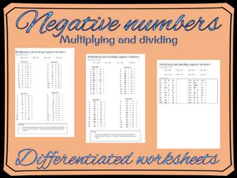 Multiplying and dividing negative numbers worksheet | Number ...