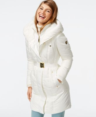 Vince Camuto Cable Knit Trim Down Puffer Coat In 2019