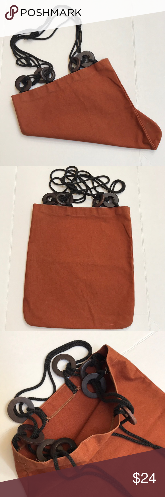 Canvas Market Tote Bag Brown Canvas Market Tote Bag. Wooden circle beads connect bag to the black rope handle. Great bag for the market. Bags Totes #woodentotebag
