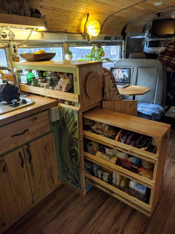 Skoolie Kitchen Storage Converted Bus For Sale Converted Bus Remodeled Campers