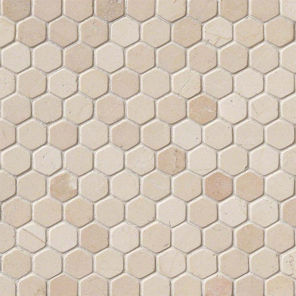 "Crema Marfil 1"" Hexagon Tumbled In 12x12 Mesh"