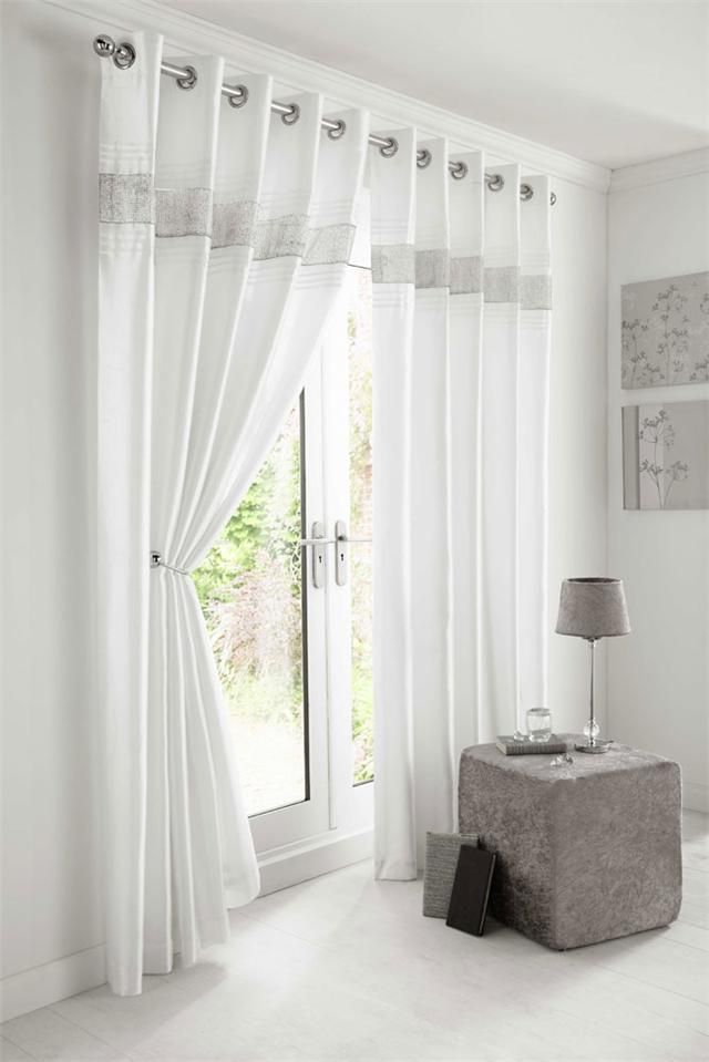 New Diamante Faux Silk Lined Curtains Black Silver Or White Eyelet