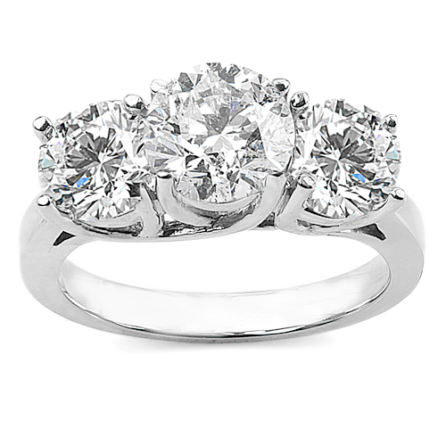 3 carat diamond ring stone diamond ring with choice of white or yellow gold - 3 Stone Wedding Rings